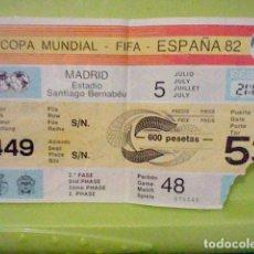 Coleccionismo deportivo: ENGLAND SPAIN ORIGINAL USED 1982 WORLD CHANPIONSHIP TICKET ENTRADA. Lote 235145475