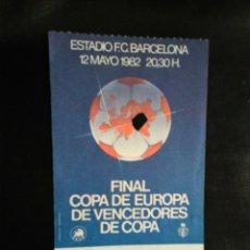 Coleccionismo deportivo: ENTRADA FUTBOL FINAL BARCELONA STANDARD LIEJA 1982. Lote 236979470