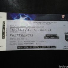 Coleccionismo deportivo: ENTRADA FUTBOL SEVILLA BRAGA 2010 CHAMPIONS. Lote 236989045
