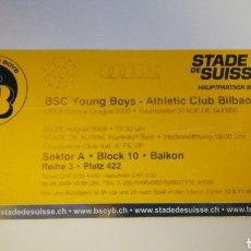 Coleccionismo deportivo: ENTRADA TICKET FÚTBOL YOUNG BOYS ATHLETIC CLUB BILBAO EUROPA LEAGUE 2009 2010 STADE SUISSE FOOTBALL. Lote 237177015