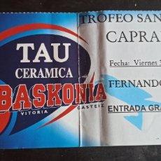 Coleccionismo deportivo: ENTRADA BALONCESTO TAU VITORIA CAPRABO LLEIDA TROFEO SAN PRUDENCIO. Lote 241893815