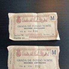 Coleccionismo deportivo: 2 ANTIGUAS ENTRADAS FÚTBOL REAL MADRID AÑOS 50. Lote 242939435