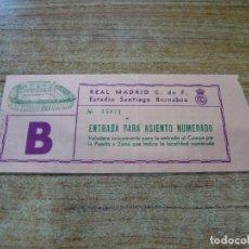 Coleccionismo deportivo: ENTRADA FUTBOL REAL MADRID F.C. CARLS ZEISS JENA SANTIAGO BERNABEU ASIENTO NUMERADO 21 OCT 1981. Lote 243149960