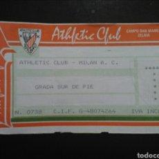 Coleccionismo deportivo: ENTRADA FÚTBOL ATHLETIC MILAN 1993. Lote 244012445