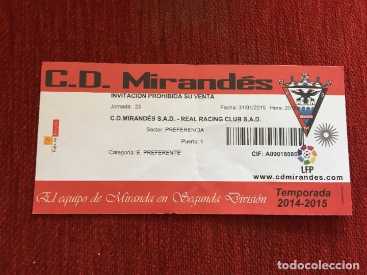 R12587 ENTRADA TICKET FUTBOL MIRANDES RACING SANTANDER LIGA TEMPORADA 2014 2015 (Coleccionismo Deportivo - Documentos de Deportes - Entradas de Fútbol)