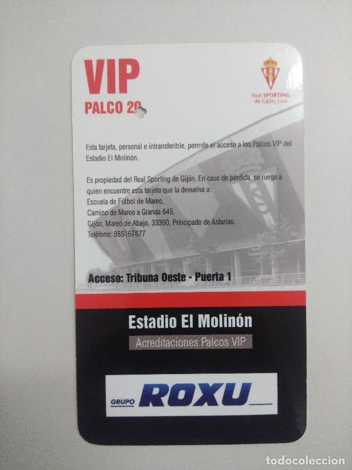 Coleccionismo deportivo: SPORTING DE GIJON-REAL ZARAGOZA/ACREDITACION PALCO VIP TEMPORADA 2011 ESTADIO EL MOLINON. - Foto 2 - 245445060