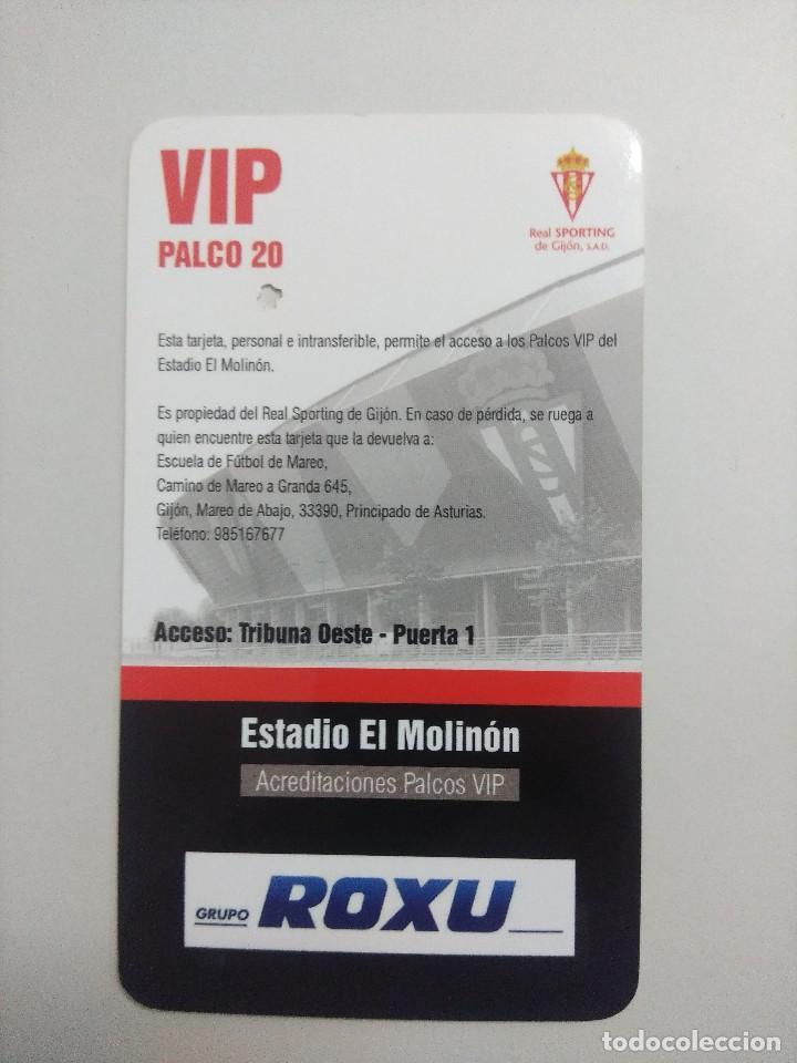 Coleccionismo deportivo: SPORTING DE GIJON-R.C.D.ESPAÑOL/ACREDITACION PALCO VIP TEMPORADA 2011 ESTADIO EL MOLINON. - Foto 2 - 245445180