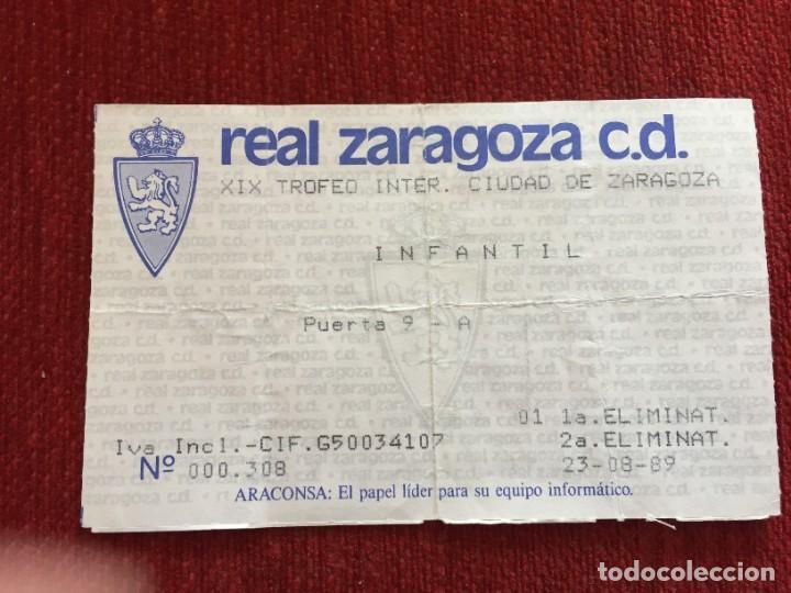 R12598 ENTRADA TICKET FUTBOL XIX TROFEO CIUDAD ZARAGOZA 1989 SANTIAGO WANDERERS CLUB ATLANTE ARAGON (Coleccionismo Deportivo - Documentos de Deportes - Entradas de Fútbol)