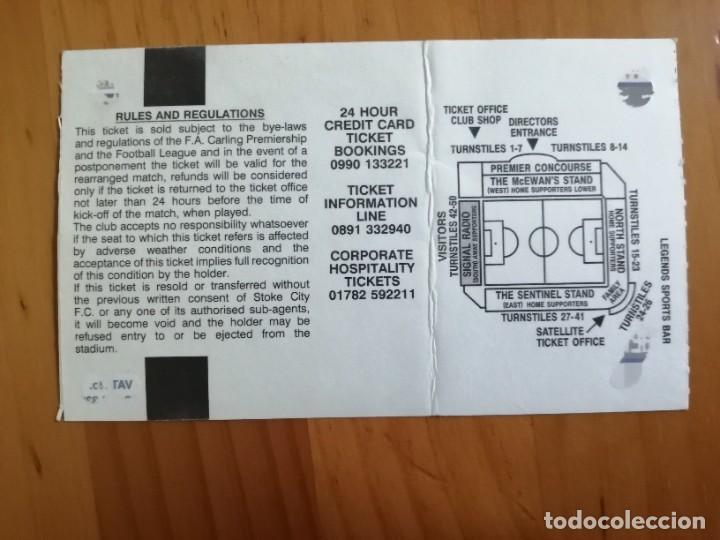 Coleccionismo deportivo: TICKET - ENTRADA DE FUTBOL - STOKE CITY FOOTBALL CLUB - Foto 2 - 246053980