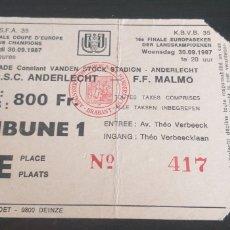 Coleccionismo deportivo: ENTRADA RSC ANDERLECHT-FF MALMOE 30/09/1987.TICKET.COPA DE EUROPA.. Lote 247134615