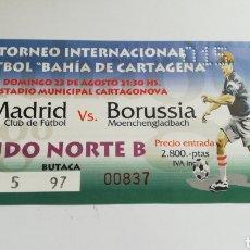 Coleccionismo deportivo: ENTRADA TICKET REAL MADRID BORUSSIA 1998 IV TORNEO DE FÚTBOL BAHÍA CARTAGENA. Lote 254587990