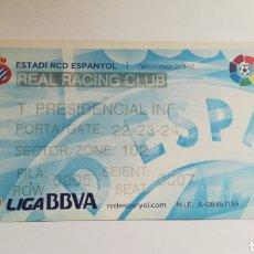 Coleccionismo deportivo: ENTRADA TICKET ESPANYOL RACING CLUB SANTANDER ESTADI RCD 2011 2012. Lote 254595495