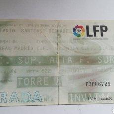 Coleccionismo deportivo: ENTRADA TICKET REAL MADRID VALENCIA 2000 2001 SANTIAGO BERNABEU JORNADA 1. Lote 254596955