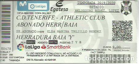 ENTRADA CD TENERIFE-ATHLETIC CLUB DE BILBAO.COPA DEL REY 2020. (Coleccionismo Deportivo - Documentos de Deportes - Entradas de Fútbol)