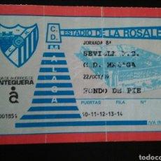 Coleccionismo deportivo: ENTRADA FUTBOL SEVILLA MALAGA 1989. Lote 257347655
