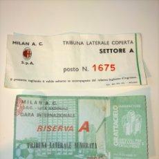 Coleccionismo deportivo: ENTRADA MILÁN - ATHLETIC CLUB 1/8 UEFA 1976 - 77 (RESULTADO 3 - 1). Lote 251886585