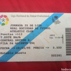 Collectionnisme sportif: TICKET REAL SOCIEDAD ATHLETIC BILBAO 5-0 94 95 ANOETA. Lote 259239450