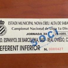 Coleccionismo deportivo: REAL CLUB DEPORTIVO ESPAÑOL ESPANYOL OVIEDO ESTADIO NOVA CREU ALTA SABADELL 1996. Lote 260771265