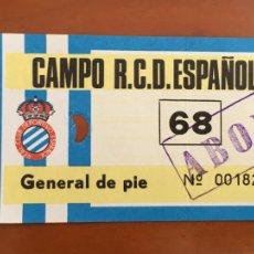 Coleccionismo deportivo: REAL CLUB DEPORTIVO ESPAÑOL ESPANYOL ENTRADA ORIGINAL ANTIGUA GENERAL DE PIE. Lote 260771525