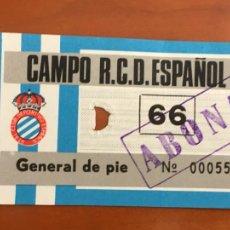 Coleccionismo deportivo: REAL CLUB DEPORTIVO ESPAÑOL ESPANYOL ENTRADA ORIGINAL ANTIGUA GENERAL DE PIE. Lote 260771625