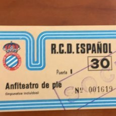 Coleccionismo deportivo: REAL CLUB DEPORTIVO ESPAÑOL ESPANYOL ENTRADA FUTBOL ORIGINAL ANTIGUA ANFITEATRO DE PIE. Lote 260771780