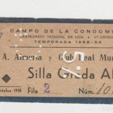 Coleccionismo deportivo: CAMPO DE LA CONDOMINA- C.A.ALMERIA Y CLUB REAL MURCIA-TEMPORADA 1958-1959-12 DE OCTUBRE DE 1958. Lote 262323515