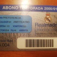Coleccionismo deportivo: REAL MADRID - ABONO TEMPORADA 2000/1. Lote 262357975