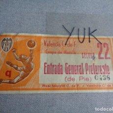 Coleccionismo deportivo: ENTRADA TICKET FUTBOL EN MESTALLA - VALENCIA CF - REAL MADRID -- 1964-65 -- PUBLICIDAD DANONE. Lote 262641395