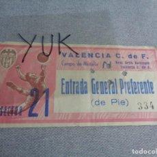 Coleccionismo deportivo: ENTRADA TICKET FUTBOL EN MESTALLA - VALENCIA CF - BETIS -- 1964-65 -- PUBLICIDAD DANONE. Lote 262641535