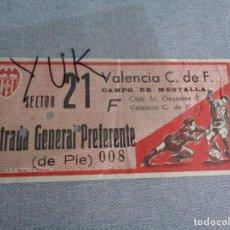 Coleccionismo deportivo: ENTRADA TICKET FUTBOL EN MESTALLA ---- VALENCIA CF 4 - OSASUNA 1 ---- 7-X-1962. Lote 262719150