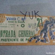 Coleccionismo deportivo: ENTRADA TICKET FUTBOL EN MESTALLA ---- VALENCIA CF - C.D ESPAÑOL ---- 1969. Lote 262720650