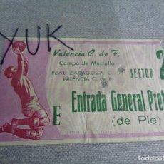 Coleccionismo deportivo: ENTRADA TICKET FUTBOL EN MESTALLA ---- VALENCIA CF - ZARAGOZA CF ---- 29-11-1970. Lote 262721040