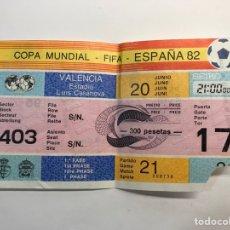 Coleccionismo deportivo: ENTRADA DE FÚTBOL (COPA MUNDIAL-FIFA-ESPAÑA 82) ESTADIO LUIS CASANOVA. VALENCIA. PARTIDO 21. Lote 265842524