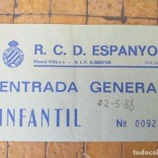 Coleccionismo deportivo: ANTIGUA ENTRADA GENERAL ESTADIO DE SARRIA DEL R.C.D. ESPANYOL INFANTIL Nº 009244. Lote 266112218