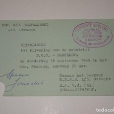 Coleccionismo deportivo: ENTRADA FUTBOL - COPA DE FERIAS 1965 DOS UTRECHT 0 - FC BARCELONA 0, 16 SEPTIEMBRE 1965. Lote 267244219