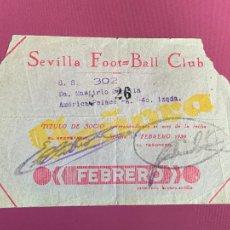 Collezionismo sportivo: ANTIGUO TITULO SOCIO FUTBOL AÑO 1939, SEVILLA FOOT-BALL CLUB. EPOCA GUERRA CIVIL. Lote 267587579