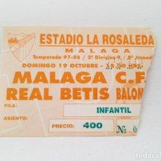 Coleccionismo deportivo: ENTRADA FÚTBOL MÁLAGA CF - REAL BETIS B (LIGA 2ª DIVISIÓN B) 97/98. Lote 268025429