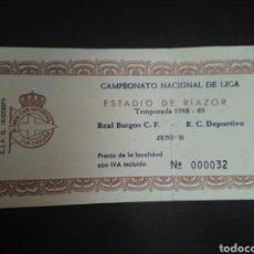 Coleccionismo deportivo: ENTRADA FÚTBOL DEPORTIVO BURGOS 1988/89. Lote 268890814