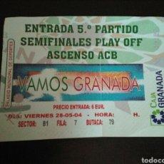 Coleccionismo deportivo: ENTRADA BALONCESTO GRANADA CAI ZARAGOZA 2004. Lote 268903074