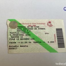 Coleccionismo deportivo: ENTRADA SEVILLA FC. 1993-1994 REAL SOCIEDAD. Lote 270617338