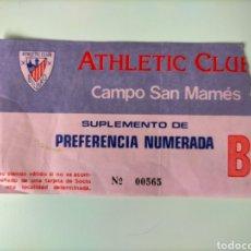 Coleccionismo deportivo: ENTRADA ATHLETIC CLUB AÑOS 80. Lote 270655863