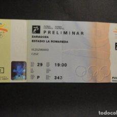Collectionnisme sportif: ENTRADA DE FUTBOL OLIMPIADAS BARCELONA 92 - ESTADIO LA ROMAREDA , ZARAGOZA - COMPLETA. Lote 274923328