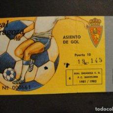 Collectionnisme sportif: ENTRADA DE FUTBOL TEMPORADA 81/82 - REAL ZARAGOZA C.D - F. C. BARCELONA. Lote 275086438