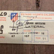 Coleccionismo deportivo: ENTRADA. ATLÉTICO DE MADRID. VICENTE CALDERÓN. PARTIDO 5. HOMENAJE A JOSÉ EULOGIO GÁRATE.. Lote 276019268