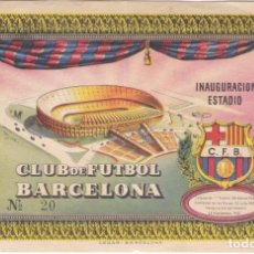 Coleccionismo deportivo: ENTRADA INAUGURACION DEL ESTADIO DEL CLUB DE FUTBOL BARCELONA Nº20 DEL AÑO 1957. Lote 276395598