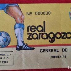 Collectionnisme sportif: ENTRADA FUTBOL REAL ZARAGOZA VALENCIA 1980 1981 ANTIGUA ORIGINAL EF4281. Lote 277171888