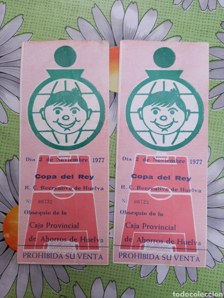 2 ENTRADAS ANTIGUA DE FUTBOL COPA DEL REY RECREATIVO DE HUELVA 2/11/1977 (Coleccionismo Deportivo - Documentos de Deportes - Entradas de Fútbol)