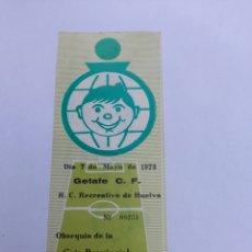 Coleccionismo deportivo: ENTRADA ANTIGUA DE FUTBOL GETAFE/RECREATIVO BUEN ESTADO AÑO 7/05/1978. Lote 278277453