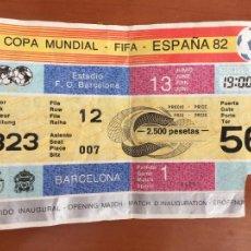 Coleccionismo deportivo: ENTRADA ORIGINAL MUNDIAL FUTBOL ESPAÑA 82 ARGENTINA BELGICA CAMP NOU BARCELONA 13 JUNIO. Lote 278461563