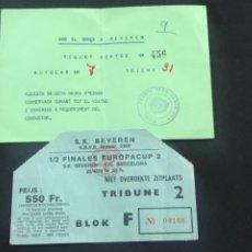 Coleccionismo deportivo: ENTRADA Y TIQUET VIAJE S.K. BEVEREN VS FUTBO CLUB BARCELONA SEMIFINAL RECOPA 1978 - 79. Lote 278952388